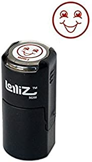 LolliZ Stamp SMILEY FACE 2 Round Self-Inking Teacher Stamp with Lid. RED Color, Laser Engraved Rubber, Contoured Design