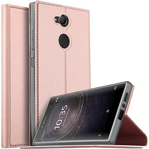 Verco Handyhülle für Xperia L2, Premium Handy Flip Cover für Sony Xperia L2 Hülle [integr. Magnet] Book Hülle PU Leder Tasche, Rosegold