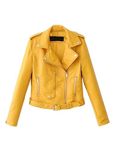 Chaqueta de cuero amarilla estilo clásico para mujer