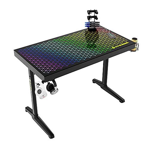EUREKA ERGONOMIC Escritorio para juegos I43 de cristal templado RGB para juegos, mesa de juego pequeña de 43 pulgadas para espacios pequeños, escritorio de juegos en forma de I con luces LED, negro