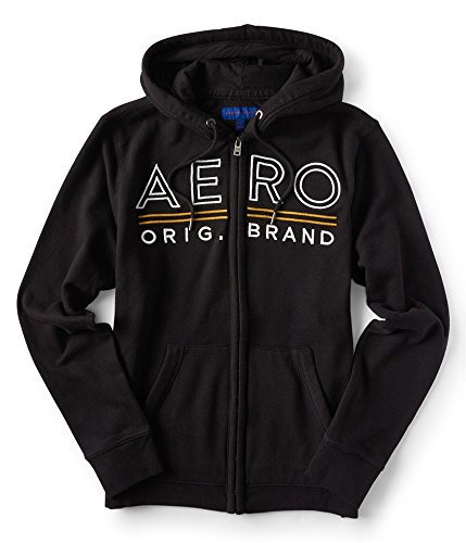 Aeropostale Womens Embroidered Hoodie Sweatshirt, Black, Large