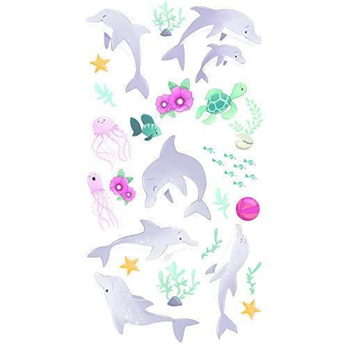 Avenue Mandarine CC025O Packung Decalco Mania (mit 2 Bögen à 20 Rubbelbildern, ideal für individuelle oder gemeinsame Bastelaktivitäten, geeignet für Kinder ab 5 Jahren) 1 Pack Delfin