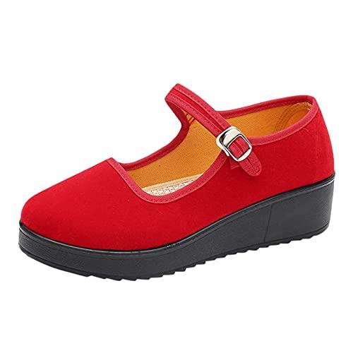 Tanzschuhe Damen Sandalen Sommer Plateau Keilsandalen Böhmen Strandsandalen Espadrille Frauen Keilabsatz Sandaletten Sommerschuhe Offene Schuhe Flatform Slingback