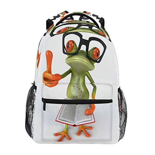 LUCKYEAH - Mochila para libros escolares, diseño de ranas, para niños, para viajes, camping, gimnasio, senderismo