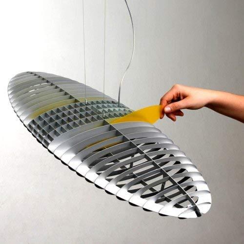 LucePlan Titania hanglamp, aluminium mat kleurfilter inclusief