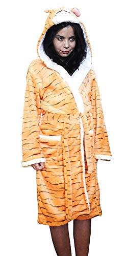 Badjas - pyjama - nacht - vrouw - man - man - zachte fleece - unisex - karakters - met capuchon en riem - tijger - maat m - cadeau-idee