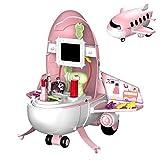 Arkmiido Pretend Play Set de Maquillaje 32pcs Avión de Dibujos Animados Chica Belleza Juguete Princesa Juguetes para niños pequeños