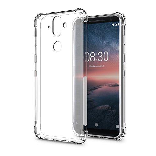 SLEO Custodia per Nokia 8 Sirocco [Custodia Silicone Gel Protezione] Morbido TPU Ispessimento del Bordo [Trasparente Cristallo] Cover- Trasparente