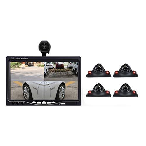 360 ° -Panorama-Rückfahrbildsystem mit 7-Zoll-Autodisplay mit 4 geteilten Bildschirmen und 4 Kameras - verlustfreie Installation,infraredcamera