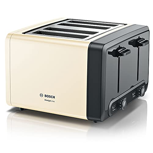Bosch DesignLine Plus TAT4P447GB Stainless Steel 4 Slot Toaster - Cream