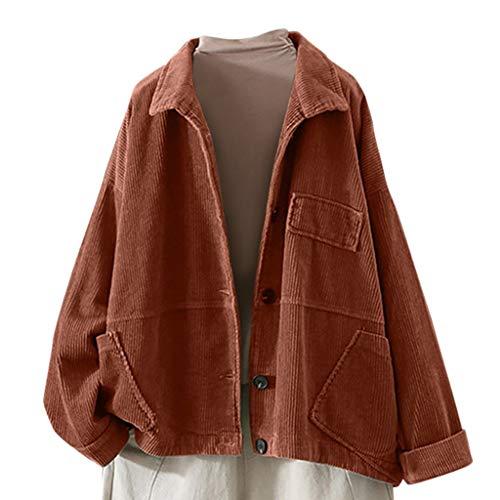 Plot Damen Corduroy Jacket Einfarbig Herbst Winter Frühling Modische Übergangs Jacke Mantel Langarm Basic Cordjacke Leichte Kurzjacke Übergangsjacke
