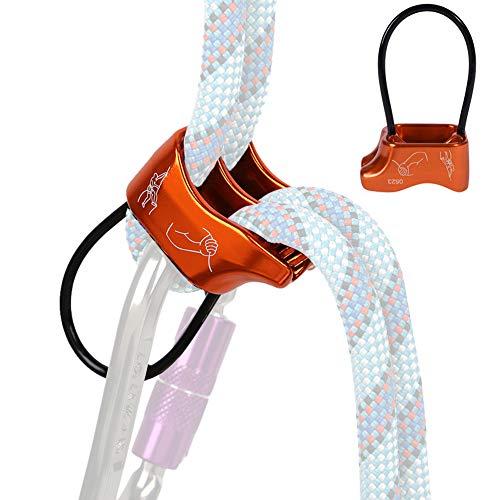 AOKWIT Professional 25KN Rappel ATC Belay Device Aluminum V-grooved Rock Climbing Belay Device Rappelling Descender Safety Equipment (Orange)
