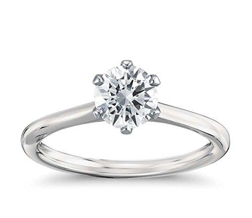 Anello di fidanzamento per donne con diamante solitario di 1/2carati con diamante naturale, oro bianco, 11, cod. 9wr3629.3L 1/2