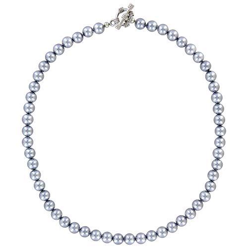 bagusto Halskette aus echten Grauen Mallorca Perlen handgemacht