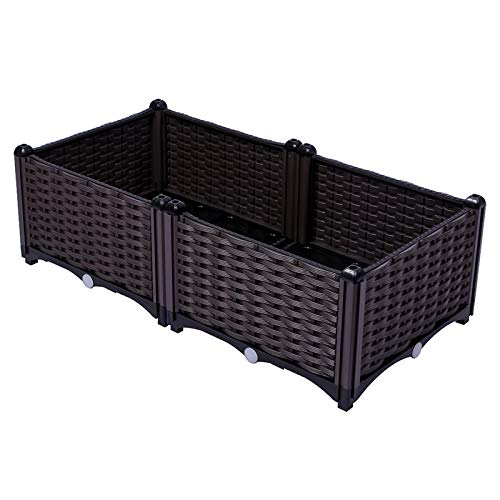 Summerville Vegetable Garden Bed Raised Planter Boxes Outdoor Gardening Pots for Herb,Flowers,Potato 2 Boxes 31.5'x15.75'x10.04'