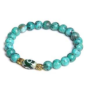 N a Blaues natürliches Sapphir-Armband Vintage tibetisches Dzi-Achat-Charm-Armband für Frauen Männer Yoga Tianzhu Schmuck 19cm