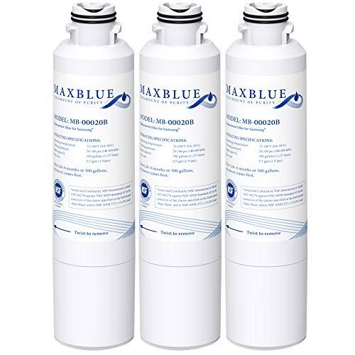 Maxblue DA29-00020B Refrigerator Water Filter, Replacement for Samsung HAF-CIN/EXP, DA29-00020A/B, DA97-08006A, RF28HMEDBSR, RF4287HARS, RF263TEAESG, RH22H9010SR, Pack of 3