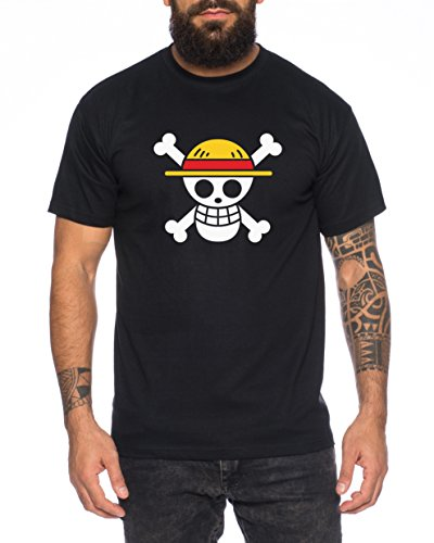 Piratenbande Luffy Monkey D. Herren T-Shirt Ruffy Zoro One Nami Lysop Piece, Farbe:Schwarz;Größe:4XL
