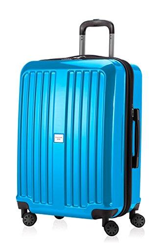 HAUPTSTADTKOFFER - X-Berg - Hartschalenkoffer Koffer Trolley Rollkoffer, 65 cm, 90 Liter, TSA, Cyanblau Glanz