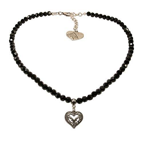 Alpenflüstern Perlen-Trachtenkette Strassherz Hirsch klein - Damen-Trachtenschmuck Dirndlkette schwarz DHK238