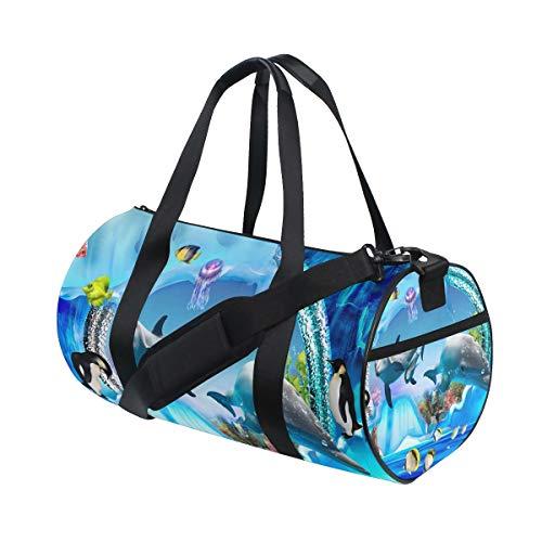 DEZIRO Dolfijn Pinguïn Jelly Aquarium Sport Duffle Bag Drum Sporttas