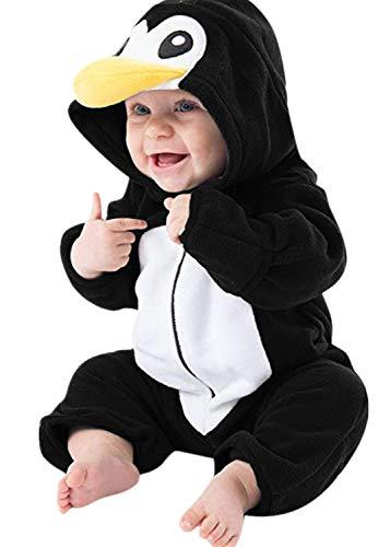 Adorabile Pagliaccetto per Bambino Bambina e Cappello con Pinguino Stampa a Maniche Lungha Felpe con Cappuccio Pagliaccetti Crawl Tuta Comodo Adatto per la Tua Principe Principe 0-24M