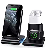 COULAX Wireless Charger, 3 in 1 Wireless Charging Station for Apple Watch, AirPods 1/2, Certified Fast Charge Stand Compatible with iPhone 11 Pro/XS Max/XS/X/XR (Not Include QC 3.0 Adapter)