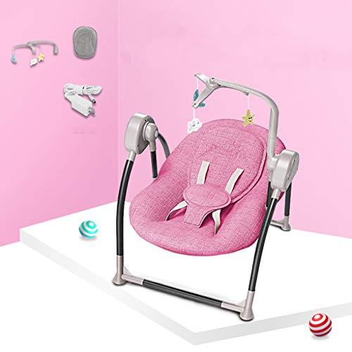 Transats Balancelles Pour Bébé 0-2 Ans Apaisant L'artefact De Bébé Dort Baby Rocking Chair Bouncers Shaker Électrique 5 Balançoires Balançoires Pliantes Harnais De Sécurité Pink