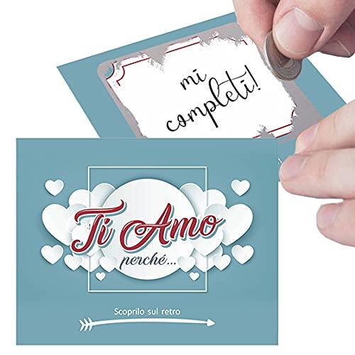 Gratta e Vinci personalizzato Ti Amo perchè per lui o lei. 5 biglietti per sorpresa romantica al tuo amore. Regalo originale per fidanzato fidanzata Idea regalo San Valentino Anniversario fidanzamento