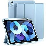 Vobafe Funda Compatible con iPad Air 4ª Generación 2020 10.9 Pulgadas, Funda Plegable Protector Cover con Portalápiz - Admite Carga Inalámbrica Pencil 2, Auto-Sueño/Estela, Azul Claro