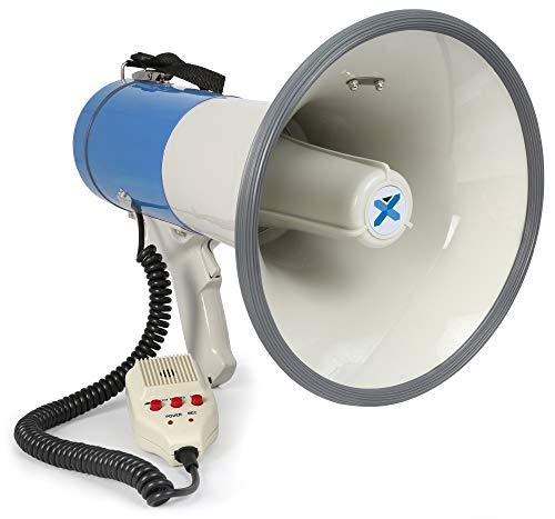 Vonyx MEG060-60 Watt Megafoon met een Bereik van 1,2 km, voorzien van een Afneembare Microfoon, Sirene, Opname Functie en USB/SD MP3 Speler