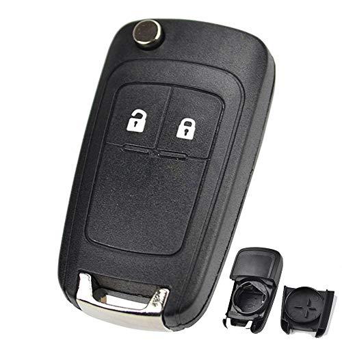 XUKEY 2 Botones de Repuesto para Llave de Coche para Opel Vauxhall Adam Astra J Insignia Mokka Zafira C Corsa D E Cascada Meriva Karl Viva Fob Case Smart Key Repair Kit Uncut Key Blade