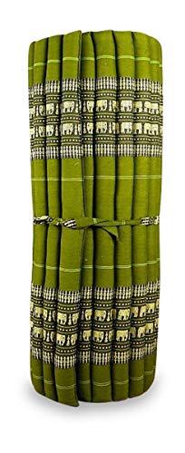 livasia Kapok Liegematte der Marke Asia Wohnstudio, 200cm x 110cm x 4,5cm; Rollmatte BZW. Yogamatte, Thaimatte, Thaikissen als asiatische Rollmatratze (grün/Elefanten)
