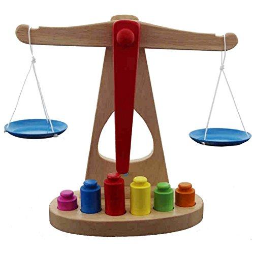 DARLINGTON & Sohns Niños Madera–Báscula Aprendizaje de Aprendizaje para el Aprendizaje Pesos Números Niños Juguete Niños Cargar