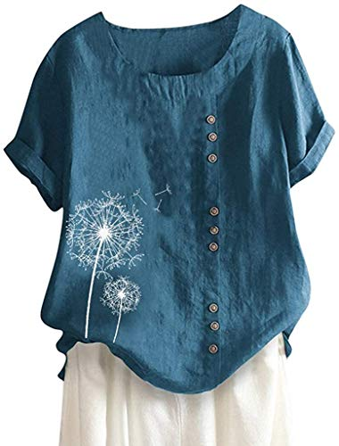 POINWER Womens Loose Button Leinen Plus Size Löwenzahn Print Casual Boho Easy Shirt Bluse Tops (Farbe : Blau, Größe : S)
