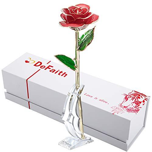DEFAITH 24K Gold Rose Made from Real Fresh Long Stem Rose Flower, Great...
