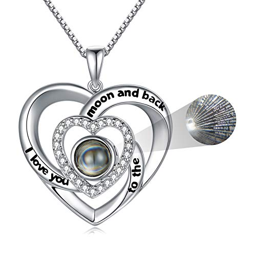 925 Sterling Silver I Love You 100 Languages Necklace Heart in Heart Projection Necklace Gift for Women