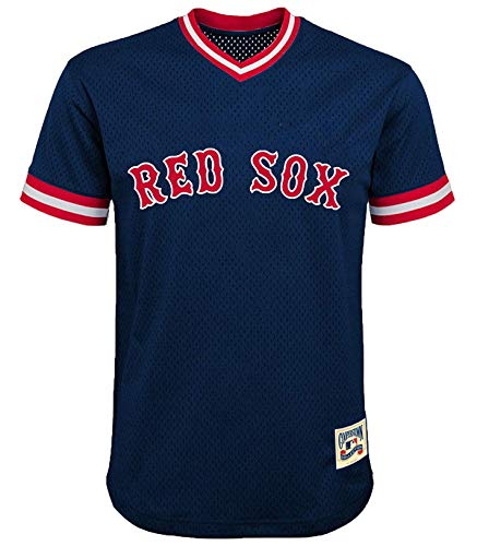 MLB Youth 8-20 Mesh Team Color Cooperstown V-Neck Jersey (Large 14/16, Boston Red Sox Navy)