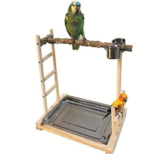 Cama para mascotas con soporte para pájaros de madera para entrenamiento de pájaros ornamentales como loros nido mascota cama perro 49x37x59cm madera