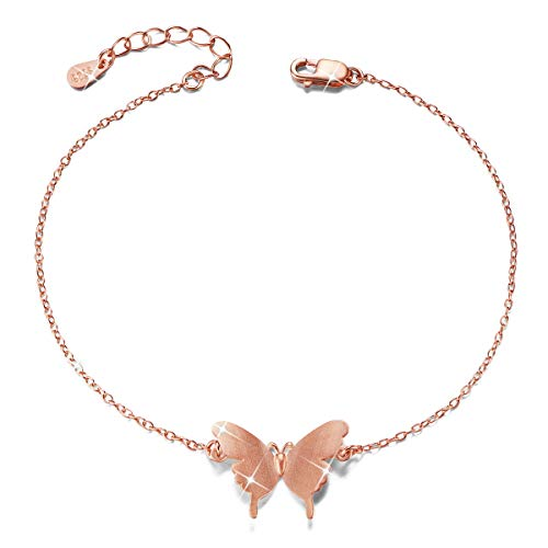 SHEGRACE Pulsera de Mariposa para Mujer en Plata de Ley 925, Platino, Oro Rosa, Chapados en Oro Brazaletes, Ajustable, 170 mm