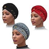 3 piezas de turbante para mujer con pañuelo en la cabeza con cuentas, cubiertas para el cabello con trenza con cuentas, gorro con trenza trenzada, gorros, gorro con perla sintética, gorro para dormir