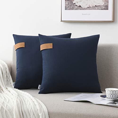 NordECO HOME 100% Fundas de cojín Decorativas de algodón, Suaves Fundas de Almohada para Cama, sofá, Silla, Coche, sin Relleno, 45 x 45 cm, Azul Marino, Paquete de 2