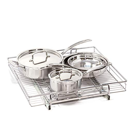"""Origami Chrome One Tier 13 W x 21 D x 4""""H Adjustable Kitchen Organizer Pull Pots Pans Sliding Shelf US Patent Pending Fitting to Cabinet 14 to 24 inch 2 Pack Silver"""