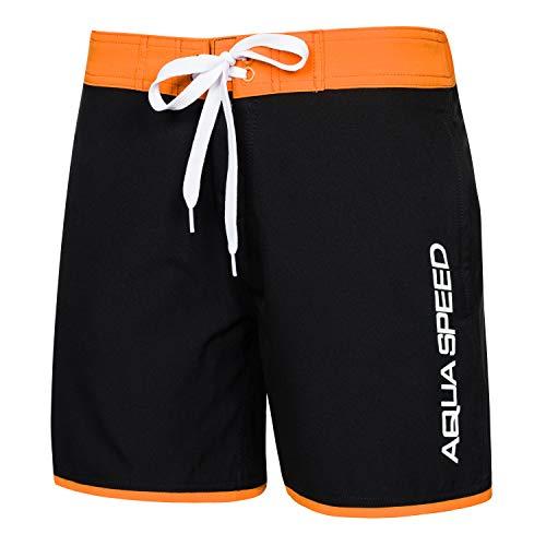 Aqua Speed Badehose für Jungen + gratis eBook   Jungs Schwimmhose   Boys Swimwear Beach   Badeshorts Schwarz Orange   Gr. 12 14 Jahre   Evan