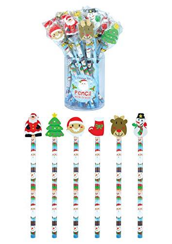Henbrandt Noël Crayon avec Gomme - Paquet de 24 (variés Designs et Couleurs)