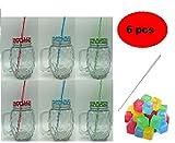 ML Pack 6 jarras Cristal Relieve piña con Tapa asa y Pajita mas 12 cubiteras y Cepillo Limpia pajitas 500ml