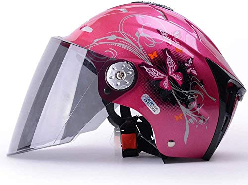TKTTBD Motorcycle Half Face Helmet Motorbike Vespa Jet Helmet with Sun Visor Cruiser Scooter Motorcycle Half Helmet DOT/ECE Approved Half Cycling Helmets for Adults Youth and Children