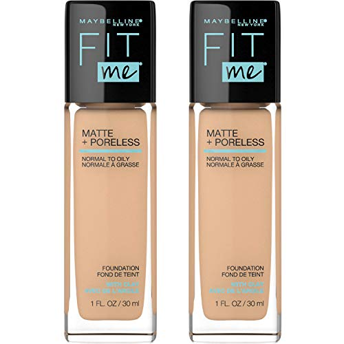 MAYBELLINE Fit Me Matte + Poreless Liquid Foundation Makeup, Warm Nude, 2 COUNT Oil-Free Foundation