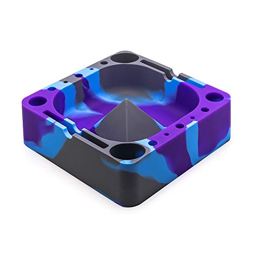 VEEAPE Silicone Ashtray, Big Ashtrays for Cigarettes Unbreakable Outdoor Silicone Cigars Ash tray for Patio/Outside/Indoor Home Decor Holding Coils, Lighters, Pens, Papers, and More (Grey/Purple/Blue)