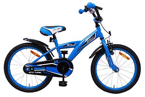 AMIGO BMX Turbo - Bicicletta per Bambini 18 Pollici - per Bambino di 5-8 Anni - Freno a Mano, Freno a contropedale, Campanello per Bicicletta e Cavalletti per Bicicletta - Blu
